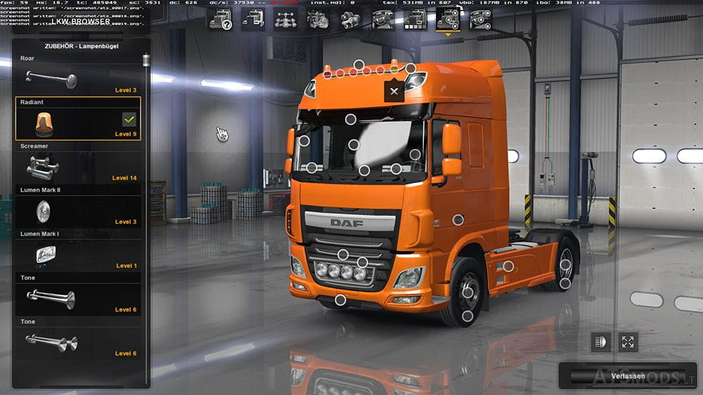 daf xf euro 6 with all cabins accessories american. Black Bedroom Furniture Sets. Home Design Ideas