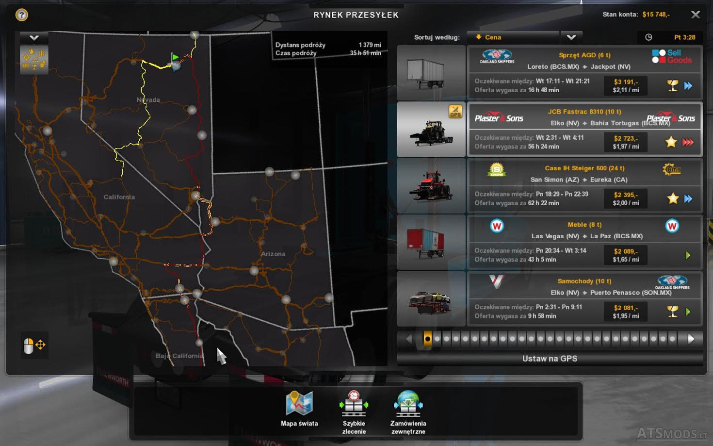 The new color of the road on the advisers and on the map ATS +