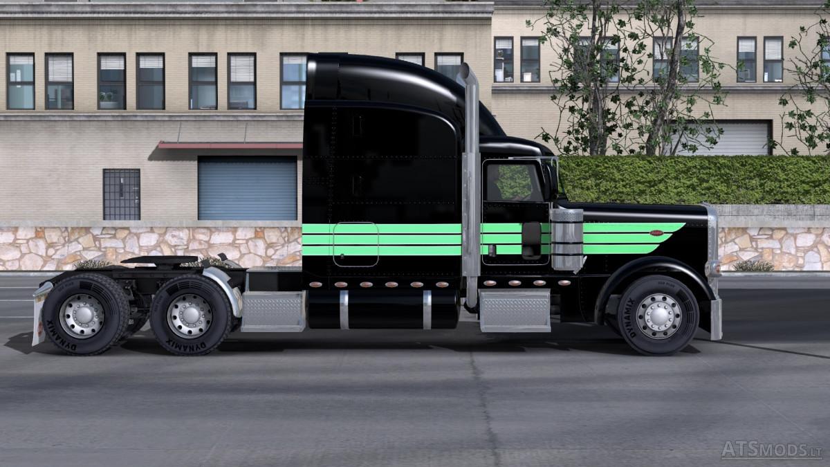 Peterbilt 389 Mint Green Black Skin American Truck Simulator Mods
