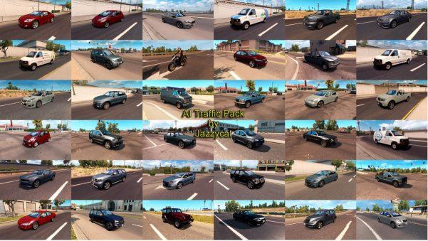 Pack adds in traffic 145 new AI cars and motorcycles:Chevrolet Blazer, Tahoe('07, '15), Caprice, Cruze, Malibu, Silverado, Colorado, Avalanche, Trailblazer, Cobalt, Impala('96,'06), Spark, Camaro, Corvette Dodge Grand Caravan, Neon, Dart, Intrepid, Caravan, Journey, Caliber, Durango('99,'11), Ram(1500, 2500, 3500), Charger, Challenger Ford F150, F350, Focus, Taurus, Fusion, Mustang('95, '13), Ranger, Explorer, Fiesta, E150, F250(service) Chrysler PT Cruiser, 300C('08, '12), Crossfire Jeep Wrangler, Liberty, Grand Cherokee GMC Yukon('00, '07), Savana, Canyon, Envoy, Vandura, Sierra Cadillac CTS, XTS Pontiac G8, Solstice Oldsmobile Cutlass Ciera Lincoln Town Car Hummer H3 Toyota Tundra, Camry, Corolla('95, '08), Land Cruiser 200, Highlander, Rav4, Yaris Lexus GS350, IS(XE20, XE30), LS460, CT200 Scion xD, tC Honda Fit, Civic, CR-V, CB600 Hornet Nissan Altima, Sentra, Frontier, Murano, Leaf, Versa, Juke, Hardbody Hyundai Sonata, Tucson, Santa Fe, Veloster, Genesis Coupe Infinity Q50, XF50 Kia Sportage, Soul, Forte Koup Mitsubishi Montero, Eclipse, Outlander Subaru Legacy('05,'10), Forester Mazda 6('06, '08, '15), CX-3 Suzuki Liana Kawasaki Ninja ZX-12R Yamaha FZ-10 Ducati 999 Triumph Speed Triple MV Agusta F4 Harley Davidson Mercedes-Benz C-Class(W203, W204), E-Class(W212, W213), S-Class(W221), R-Class Audi A4(B6, B7, B8), A7, A8(D4) BMW 3(E92, F80), 5(F10), 7(E65). X3(F25), X5(F15) Volkswagen Jetta(4, 5), Golf 7, Beetle Volvo S60, V60, XC90'17 Porsche 911, Cayenne, Macan Jaguar F-PaceAll standalone, works on any maps. Included real 3D logos for default cars. Compatible with all my packs. Tested on version 1.31.хVersion 4.3 - added Yamaha FZ-10, Mazda 6 '15, Mercedes-Benz R-Class.Credits: Jazzycat<strong><a href=http://sharemods.com/a7trwp82vs92/ai_traffic_pack_by_Jazzycat_v4.3_ats.7z.html target=_blank>DOWNLOAD</a></strong> 107 MB<br> <strong><a href=http://uploadfiles.eu/il1024oq7ezp/ai_traffic_pack_by_Jazzycat_v4.3_ats.7z.html target=_blank>DOWNLOAD</a></strong> 107 